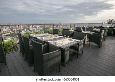 Roof top restaurant with Bangkok city view