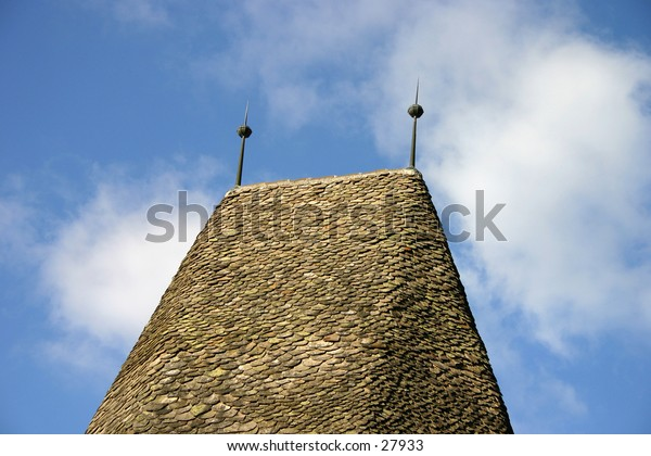 a roof top with spikes (lightning catcher probably)