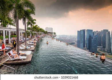 roof top swimming pool at the Marina Sands Hotel in Singapore, Asia taken on 28 Ocotber 2013