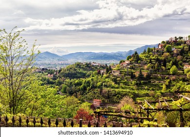 Roof top view on medieval city Bergamo, the place where located second Milano airport. Bergamo is popular touristic destination in Italy, Europe. - Image