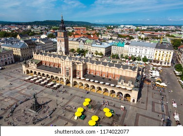 Roof top View of Town Hall in historical Town with crowd of Tourists walking
