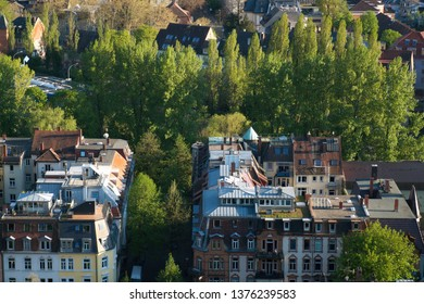 Roof tops of Freiburg, Green City and gate to the Black Forest in Germany, Europe