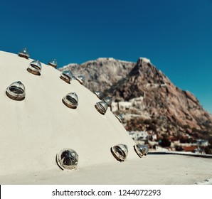 Roof of a Turkish Bath and Fortress view in Afyonkarahisar Turkey
