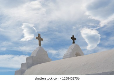 A roof with two crosses on Paraportiani church Myconos Greece
