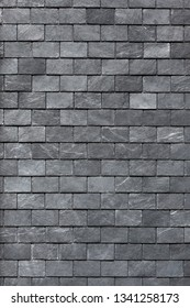 Roof (wall) of the Silesian black shale. Slate roofing tiles, background image, texture