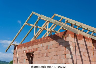 Roof and walls structure of house in construction