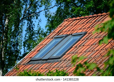 Roof windows and green garden