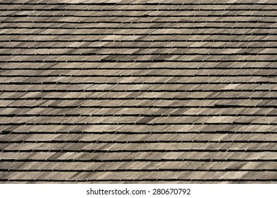 A roof of wooden shingles
