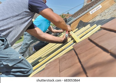 roofers nailing slats on a roof for renovation