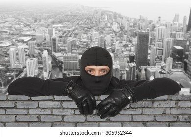 Roofers. Ninja against the backdrop of the city