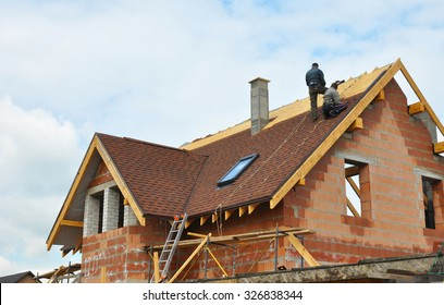 Roofing Construction and Building New Brick House with Modular Chimney, Skylights, Attic, Dormers and Eaves.