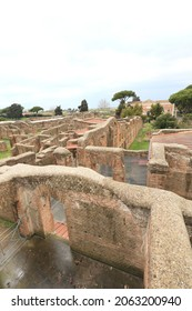 roofless ruins of the ancient city of Ostia Antica near Rome, Italy