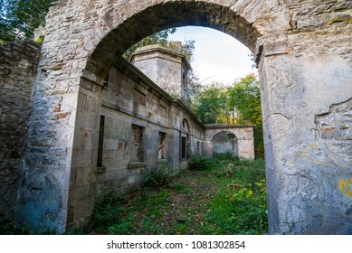 Roofless ruins of stables at Cammo Wilderness Park, Edinburgh, Scotland, UK.
