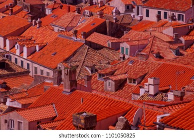 Roofops of the old city from the city walls of  Dubrovnik, Croatia