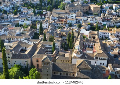 Roofs of Albaicin, Spain. Albaicin is a famous district in the city of Granada. Well known for its medieval Moorish architecture dating back to the Nasrid Kingdom of Granada est. in the 13th century.