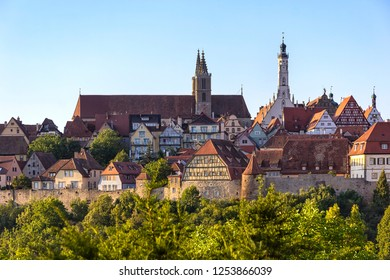 Roofs and buildings in the medieval town Rothenburg ob der Tauber.