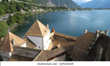 Roofs of Chillon Castle, Switzerland. Montreaux, Lake Geneve, one of the most visited castle in Swiss. Major tourist attractions and most visited castles in Europe, Canton of Vaud, Switz