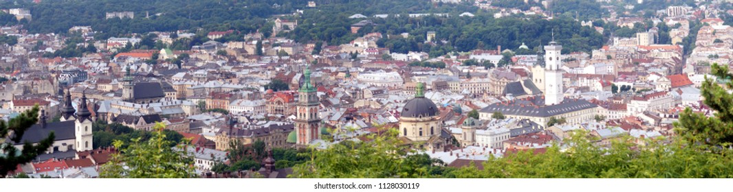 Roofs and domes of downtown of ancient city Lviv, Ukraine. Panoramic image.