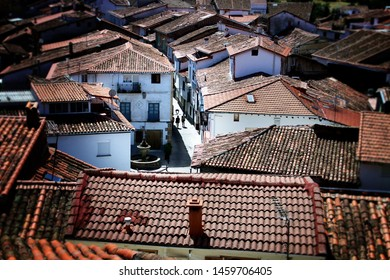 Roofs and the fountain of the Square of Hervás (Cáceres, Spain). Traditional architecture of this part of Spain.