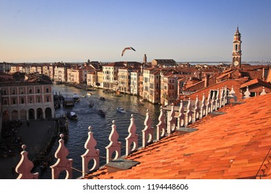 Roofs of houses and views of the Grand Canal, Venice, Italy