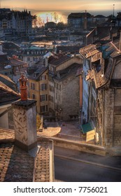 Roofs of Lausanne, Switzerland, in the sunset