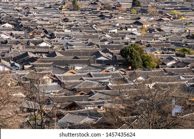 The roofs of Lijiang old town, a famous  travel destination in Northern Yunnan in Southwest China