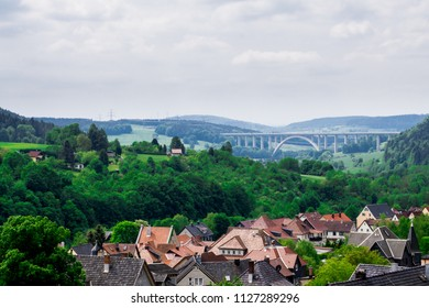 The roofs of the little German village and the bridge at the background. Rauenstein near Coburg, Germany