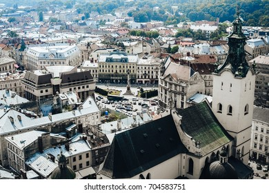 Roofs of Lviv, Ukraine.A view from above on the historical center of Lviv. The roofs of the old city.