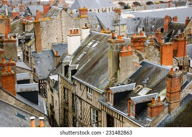 Roofs of the medieval town Blois in Loire valley ( Val de Loire, France)