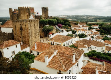Roofs of a medieval village Obidos, Portugal
