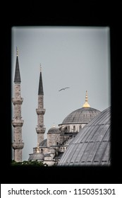 The roofs and minarets of the Blue Mosque, Sultan Ahmet, Istannbul, Turkey