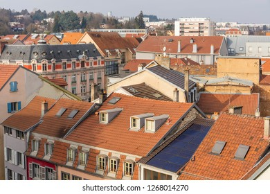 Roofs of the Montbeliard town in Doubs department in the Bourgogne Franche Comté region in eastern France