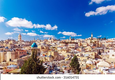 Roofs of Old City with Holy Sepulcher Church Dome, Jerusalem, Israel