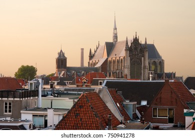 The roofs of the old city. Leiden, Netherlands.