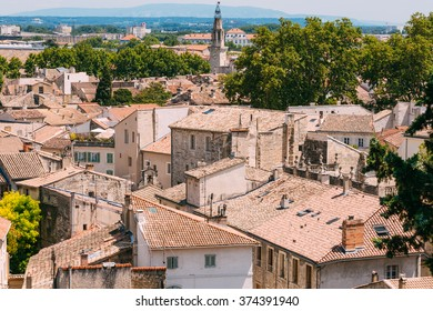 Roofs of old houses in Avignon, Provence, France