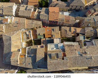 Roofs of old town of Castelfidardo, in the province of Ancona, in the Marche region. Aerial view.