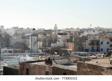Roofs of old town Essaouira in the sunny morning
