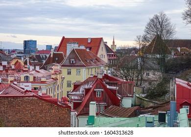Roofs on old city Tallinn Estonia