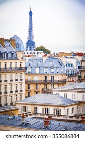 Roofs of paris, with eifiel tower in the background