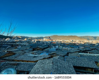 Roofs of Shangri-La Old Town, View as seen from Guishan Temple in Yunnan, China.