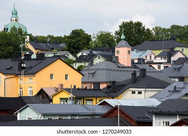 Roofs of summer Porvoo, a heavenly place.  Situated on the southern coast of Finland approximately 50 kilometres east of Helsinki.