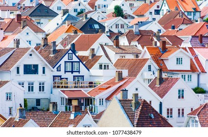 Roofs of wooden houses in the old town of Stavanger in Norway