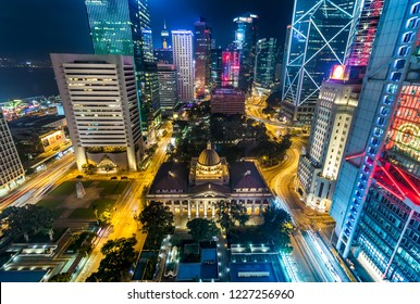 Rooftop Aerial View of Skyline and City at Night, Hong Kong