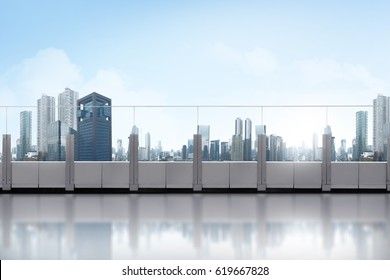 Rooftop balcony with skyscraper at sunny day