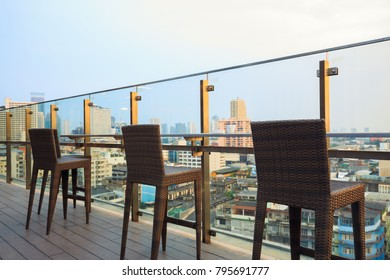 rooftop bar and restaurant of building cityscape