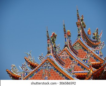 Rooftop decoration of traditional Temple Taiwan