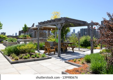 Rooftop Garden In Urban Setting