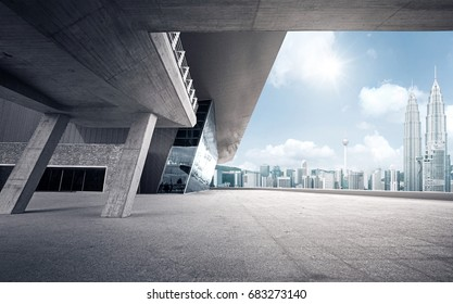 Rooftop modern building with empty ground