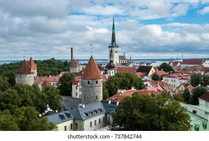 Rooftop panorama from viewing gallery in Toompea over the old town of Tallinn Estonia