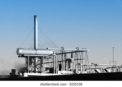 Rooftop pipes of industrial processing facility